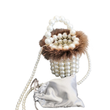 Beaded Bucket Bag with Fur Detail
