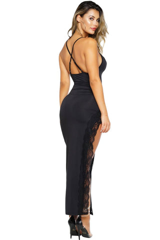 Extreme Split Lace Trim Maxi Dress