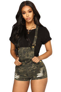 Camo denim playsuit