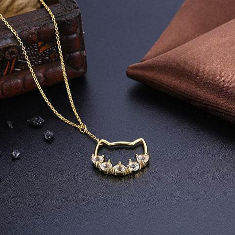 Image of Crystal  Silver Cat Pendant Necklace