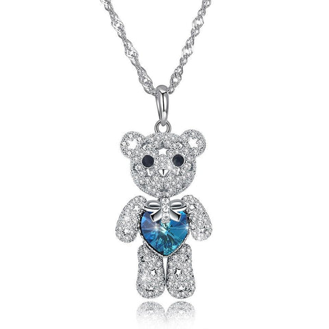 Image of Cute Bear Full Diamond Silver Necklace