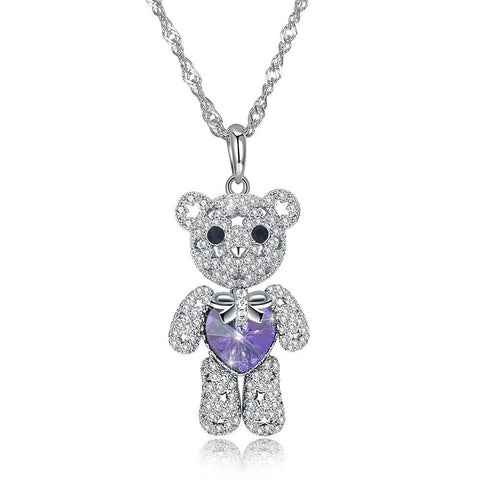 Cute Bear Full Diamond Silver Necklace