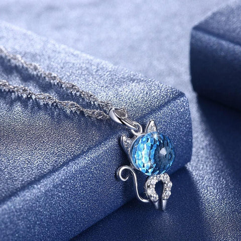 Image of Cute Kitten Sterling Silver Necklace