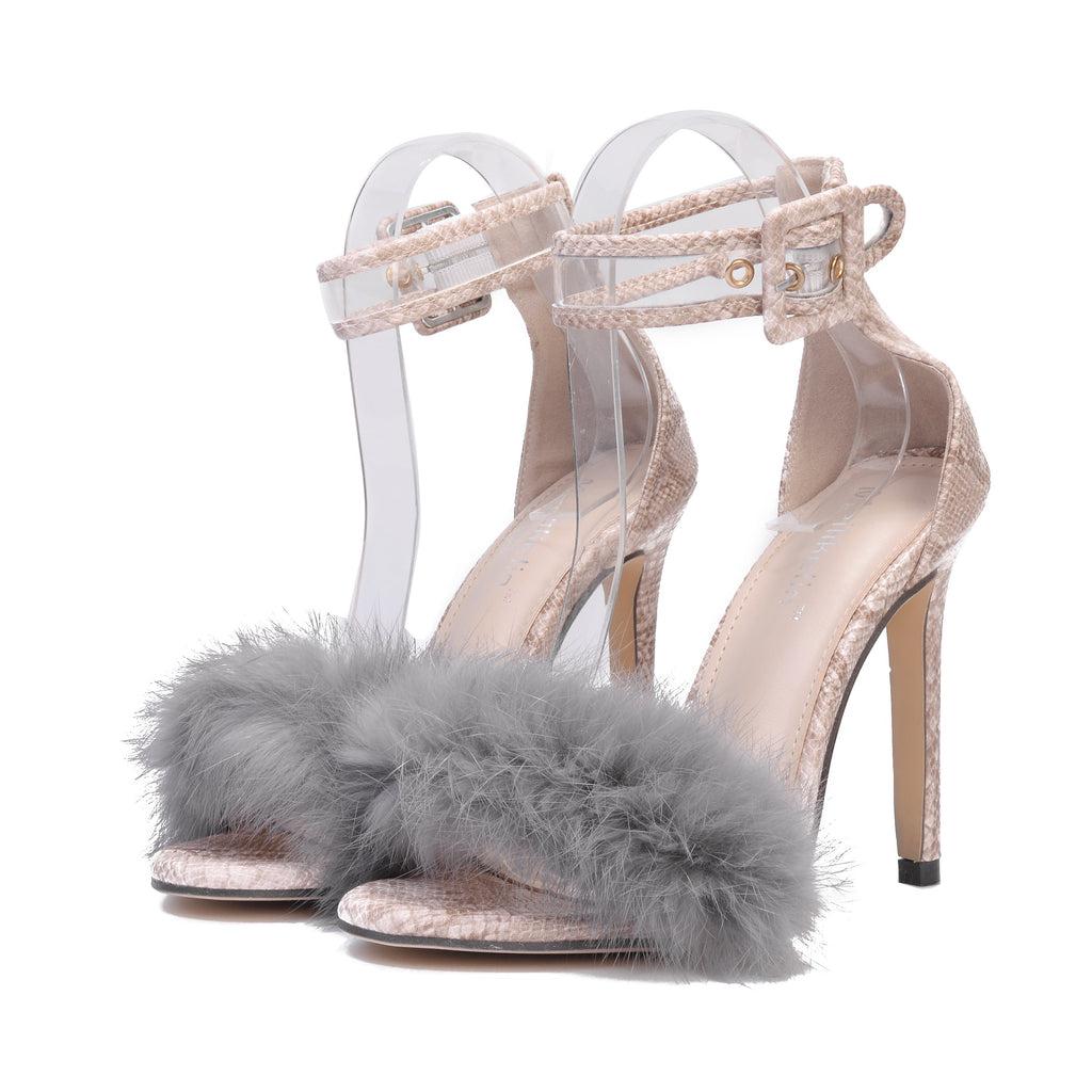Furry High Heel Sandals