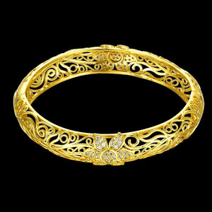 Gold enamel carving pattern bracelet