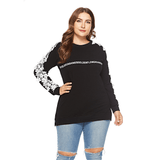 Ladies Plus Size Pullover with Detailed Sleeves