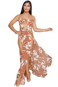 Floral Print Bandeau Slit Maxi Dress