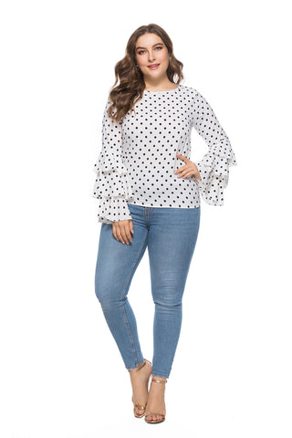 Ladies Plus Size Polka Dot Lantern Sleeve Blouse
