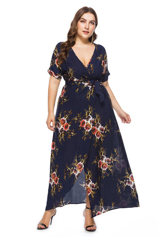 Ladies Plus Size Wrap Maxi Dress