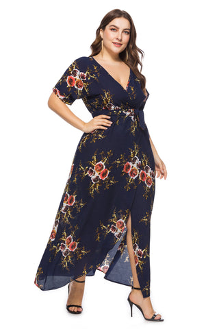 Image of Ladies Plus Size Wrap Maxi Dress