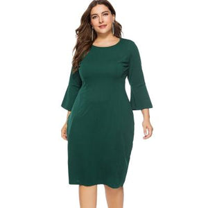 Plus Size Bell Sleeve Sheath Dress