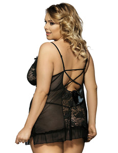 Black Plus Size Floral Lace Front&Croch Back Babydoll