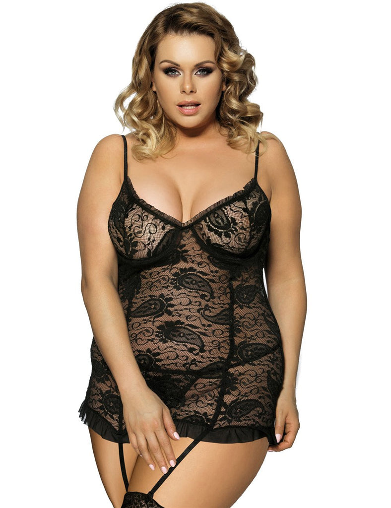 Ladies Plus Size Black Mesh Chemish  Babydoll Lingerie