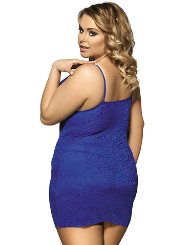 Image of Ladies Plus Size Blue Lace Babydoll Lingerie