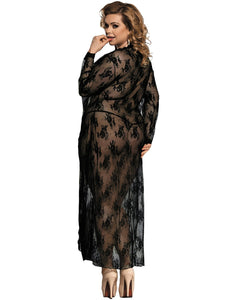 Black Plus Size Delicate Lace Gown
