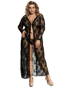 Ladies Plus Size Black Delicate Lace Gown