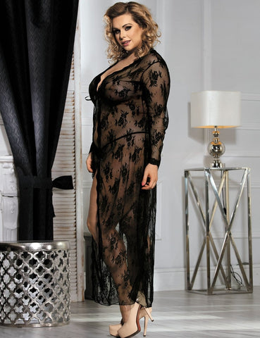 Image of Ladies Plus Size Black Delicate Lace Gown