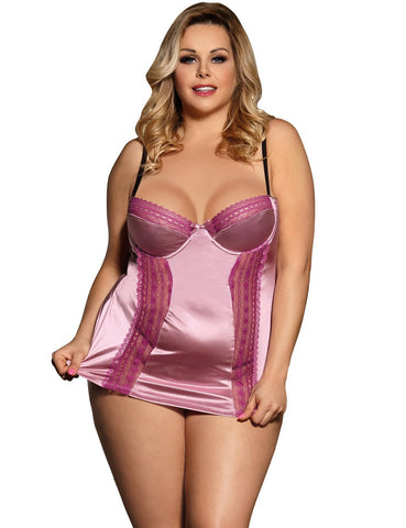 Ladies Plus Size Deluxe Satin & Lace Babydoll Lingerie