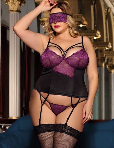 Image of Ladies Plus Size Purple Lace Bustier Lingerie Set With Bra Rim