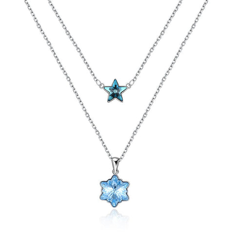 Stars Snowflake Stacked Elements Fashion Sterling Silver Necklace