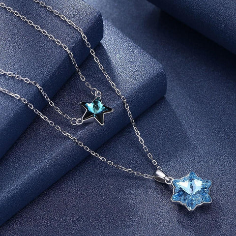 Image of Stars Snowflake Stacked Elements Fashion Sterling Silver Necklace