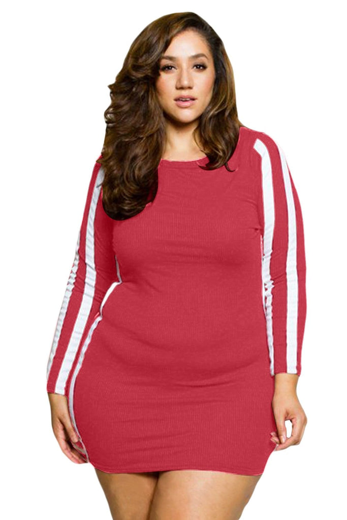 Ladies Plus Size Striped Pullover Dress