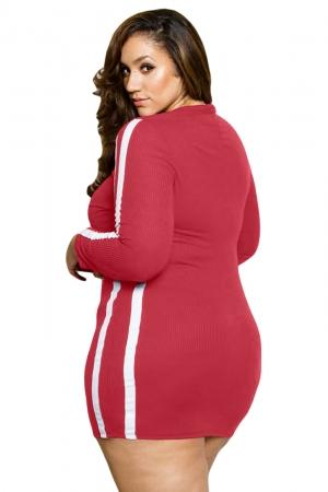 Image of Striped Long Sleeve Red Ripped Curvy Dress