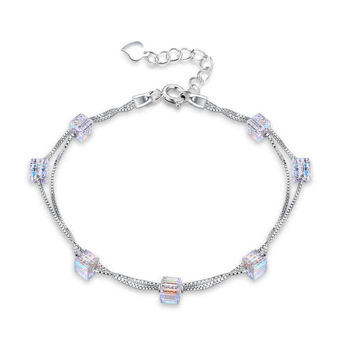 Image of Sugar Shaped  Double Layer Sterling Silver Bracelet