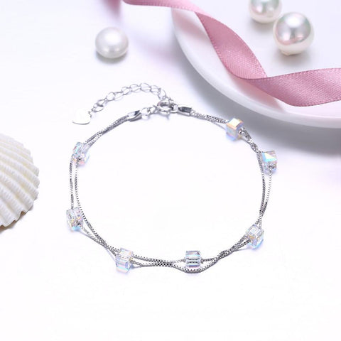 Sugar Shaped  Double Layer Sterling Silver Bracelet