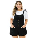 Ladies Plus Size Button Down Ribbed Playsuit
