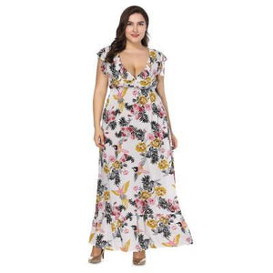 Sexy Plunge Floral Print Plus Size Maxi Dress