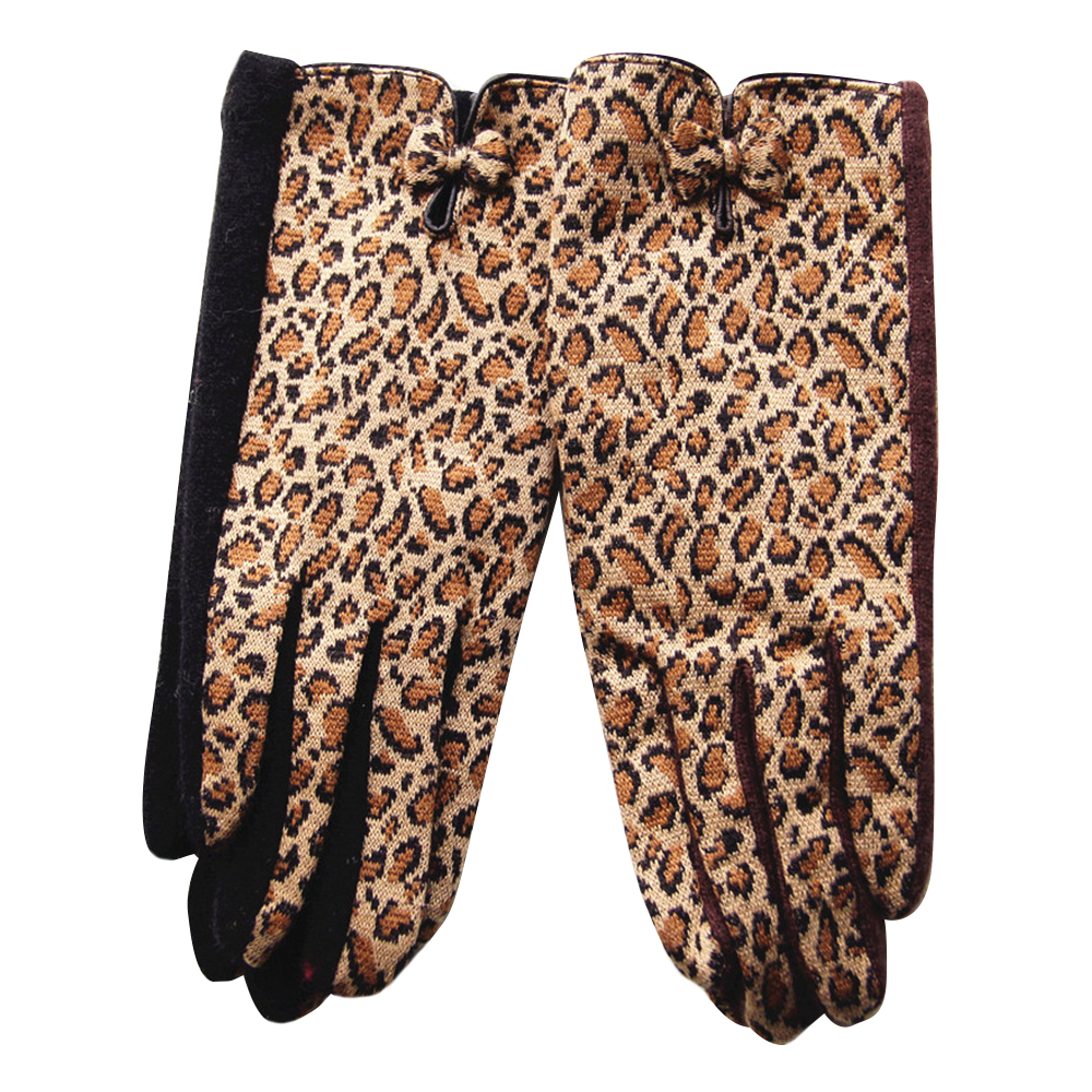 Cheetah Print Patterned Gloves