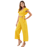 Yellow Frill Trim Cut out Summer Jumpsuit