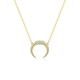 Diamante Bullhorn Pendant Necklace