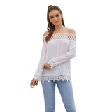 Bardot Long Sleeve Crochet Patterned Summer Shirt