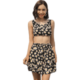 Floral Crop and Skater Skirt Twinset