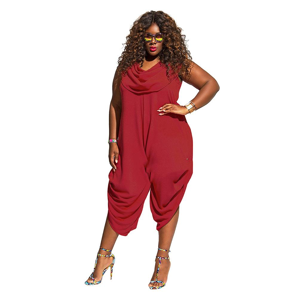Ladies Plus Size Oversized Jumpsuit with Ruched Leg