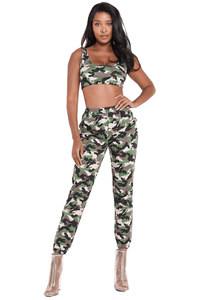 Camo Crop Top and Trouser Twinset