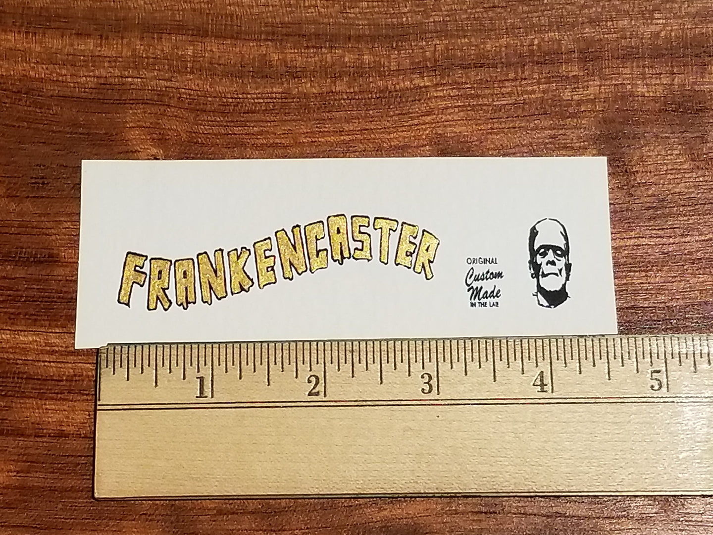 Frankencaster Custom Waterslide Decal. Metallic Color Fills. Hand Painted