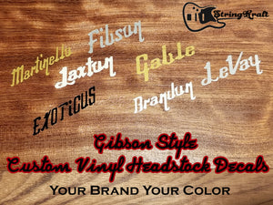 Custom Gibson Style Vinyl Headstock Decals. Your Brand. Your Name.