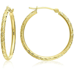 14k Gold Hand Engraved Diamond-cut Round Gloria's Accessory Heaven