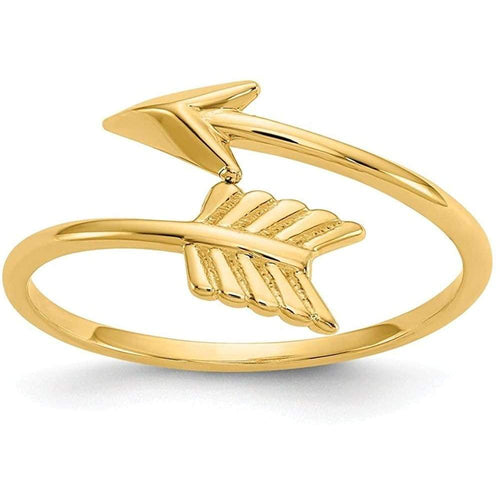 14k Yellow Gold Arrow Band Ring Size 7.00 Adjustable Fine Jewelry For Women Gifts For Her Clothing Shoes & Jewelry Gloria's Accessory Heaven