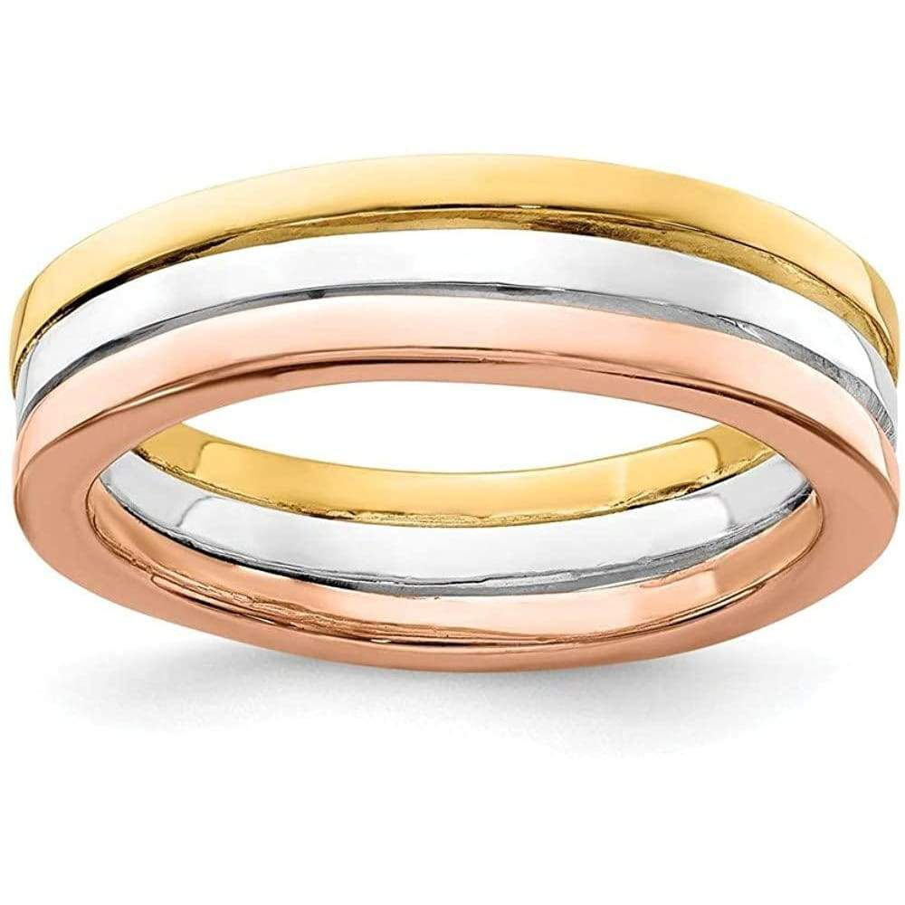925 Sterling Silver Gold Rose Tone Set Of 3 Band Rings Ring Stackable Smooth Fine Jewelry For Women Gifts For Her Gloria's Accessory Heaven