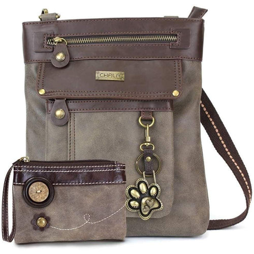 Chala GEMINI Crossbody Faux Leather Gift Messenger Bag with Double Zip Wallet (Paw Print - Stone Grey) Clothing Shoes & Jewelry Gloria's