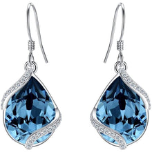 EVER FAITH 925 Sterling Silver CZ Twist Teardrop Hook Dangle Earrings Adorned with Swarovski crystals Clothing Shoes & Jewelry Gloria's