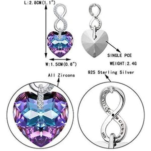 EVER FAITH 925 Sterling Silver CZ Figure 8 Infinity Love Heart Dangle Earrings Adorned with Swarovski crystals Clothing Shoes & Jewelry