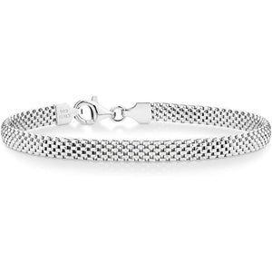 Miabella 925 Sterling Silver Italian 5mm Mesh Link Chain Bracelet for Women 6.5 7 7.5 8 Inch Made in Italy Clothing Shoes & Jewelry Gloria's