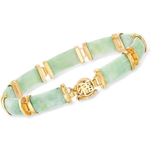 Ross-Simons Good Fortune Green Jade Bar Bracelet in 18kt Gold Over Sterling Clothing Shoes & Jewelry Gloria's Accessory Heaven