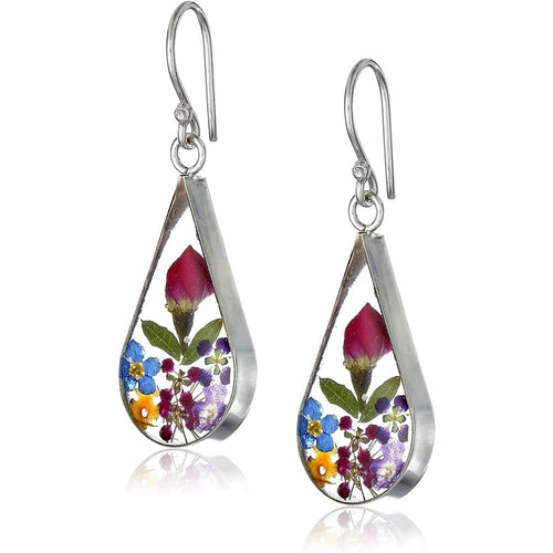 Sterling Silver Pressed Flower Teardrop Earrings Clothing Shoes & Jewelry Gloria's Accessory Heaven