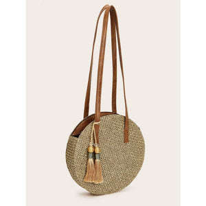 Tassel Fringe Hem Decor Round Bag Women - Handbags- Wallets Glorias Accessory Heaven
